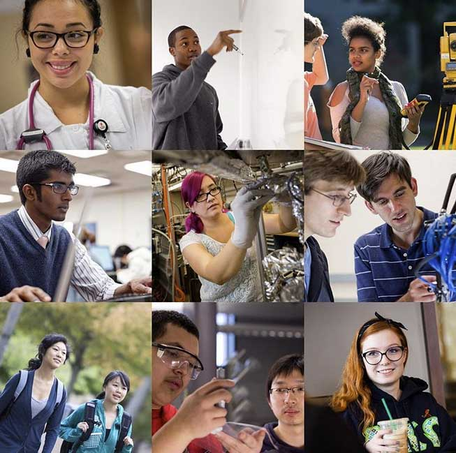 Photo collage of Case Western Reserve University students in labs, classrooms, and around campus