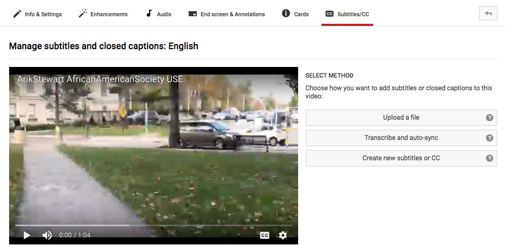 A screenshot of the YouTube platform showing how to add closed captioning to videos