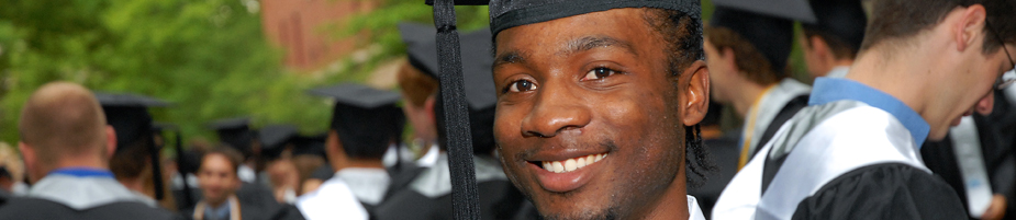 A Case Western Reserve University graduate waits for the Commencement procession to begin.