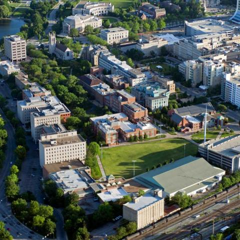 Aerial shot of CWRU campus