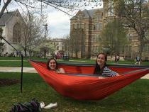Students sitting in a hammock in the quad