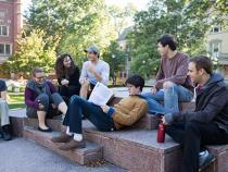 Students hanging out in the quad