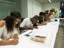 Students taking a drawing class in MOCA