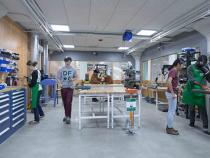 Students walking in the thinkbox