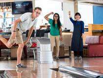 Students bowling at the Corner Alley