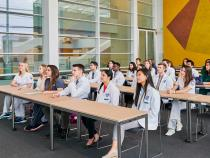 Health Education Campus with several Case Western Reserve students seated