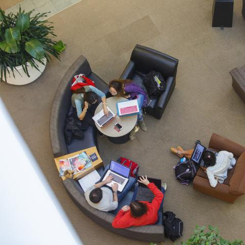 Looking down on a group of Case Western Reserve Students studying in comfortable chairs