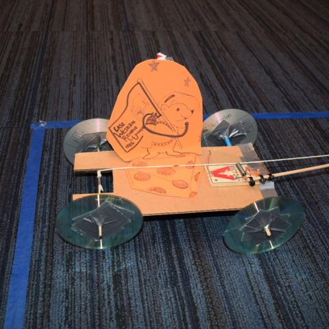 Mousetrap-powered-car built by engineering students