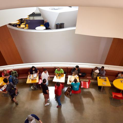 Inside the Frank Gehry-designed Peter B. Lewis Building, home of the Weatherhead School of Management.