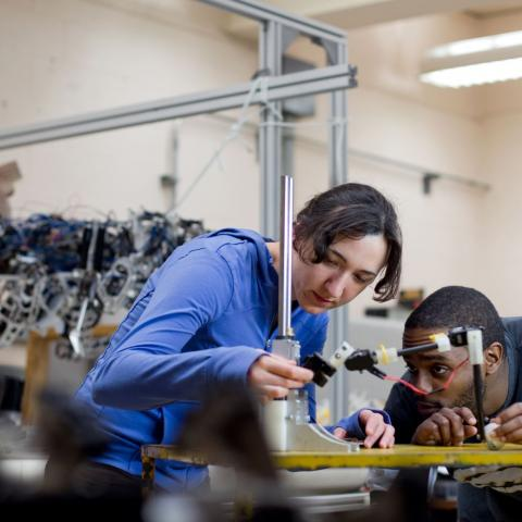 Engineer students work on robotics