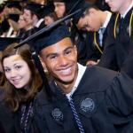 Case Western Reserve University student in graduation gown at graduation