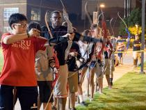 Archery team during late night practice