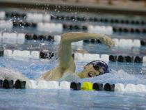 CWRU swimmer in the pool during a meet
