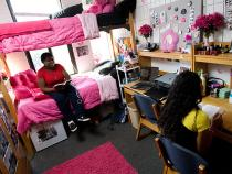 Students hanging out in their dorm room