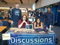 The Discussions student group at their booth