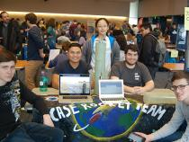 The Rocket club booth at the student org fair