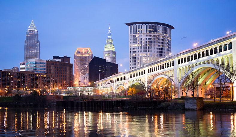Downtown Cleveland waterfront at night