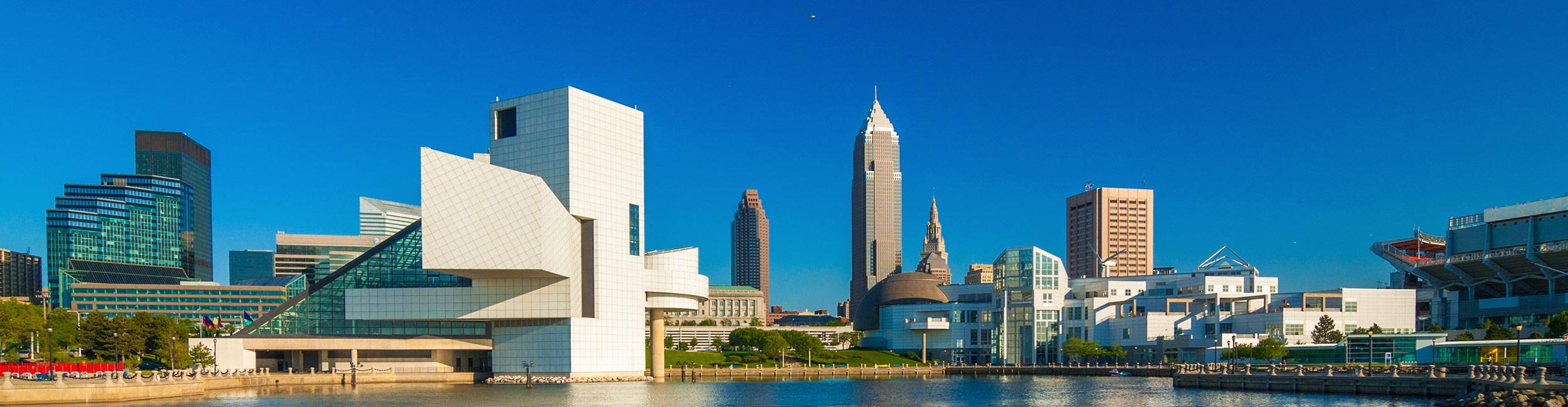 Downtown Cleveland photographed from the lake