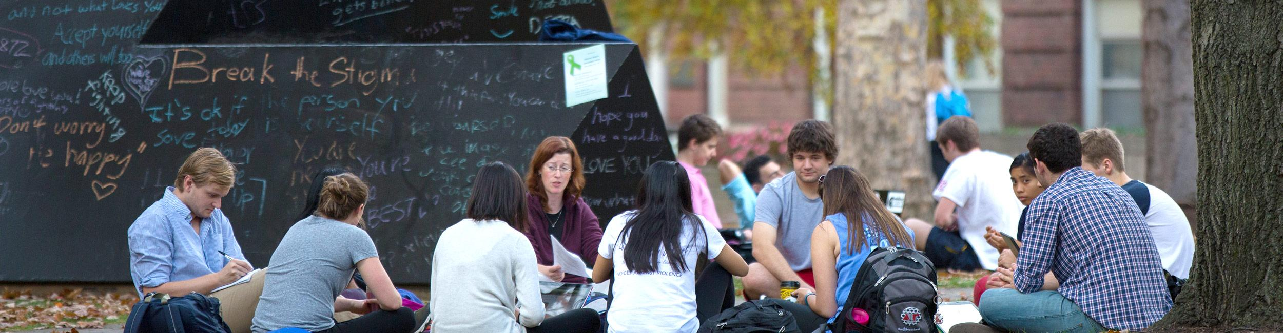 Students attending a class held outside on the quad