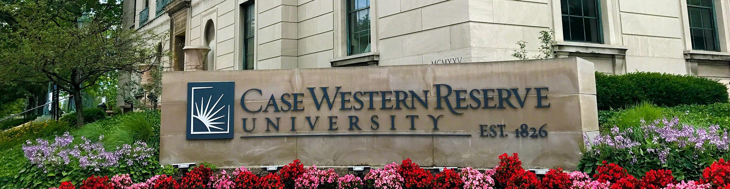 CWRU sign surrounded by flowers