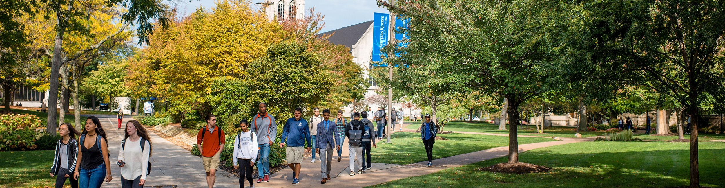 students walking across the CWRU campus