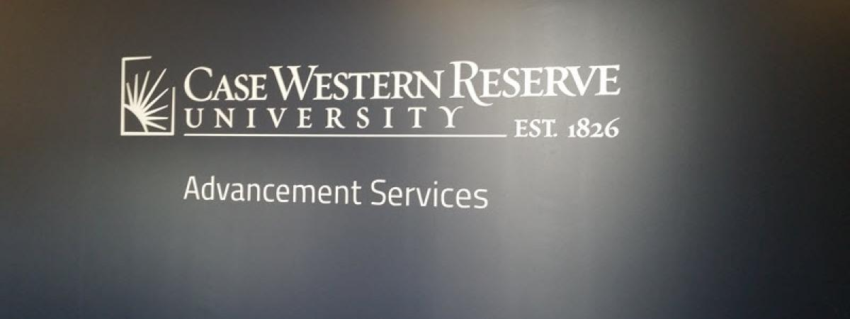 Case Western Reserve University logo with Advancement Services below it