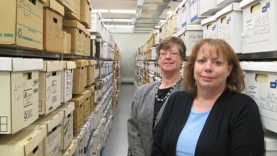image of archivists Jill Tatem and Helen Conger