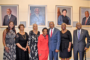 image of  Louis Stokes, JD (CLC '49, HON '91); Carmella Miller, cousin of David Satcher, MD, PhD (GRS '70, anatomy; MED '70; HON '90); Barbara Walker, sister of Stephanie Tubbs Jones, JD (FSM '71, LAW '74); Judge Sara J. Harper, JD (CLC '48, LAW '52); Fred D. Gray, JD (LAW '54, HON '92); Marilyn S. Mobley, PhD (GRS '87, English); and Robert P. Madison (ARC '48, HON '04).