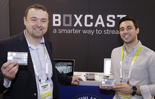 CWRU Alumnus Gordon Daily promotes his innovation, Boxcast, at the 2017 CES event in Las Vegas.
