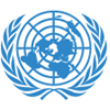 Blue logo for the United Nations, a globe flanked by branches of peace