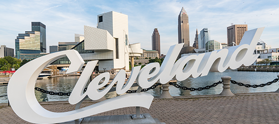 Skyline of the City of Cleveland, including the Rock and Roll of Fame