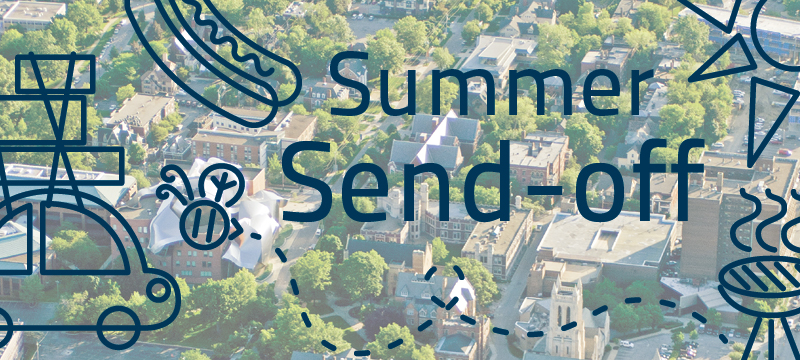 Aerial photo of CWRU Campus with words Summer Send-off on it