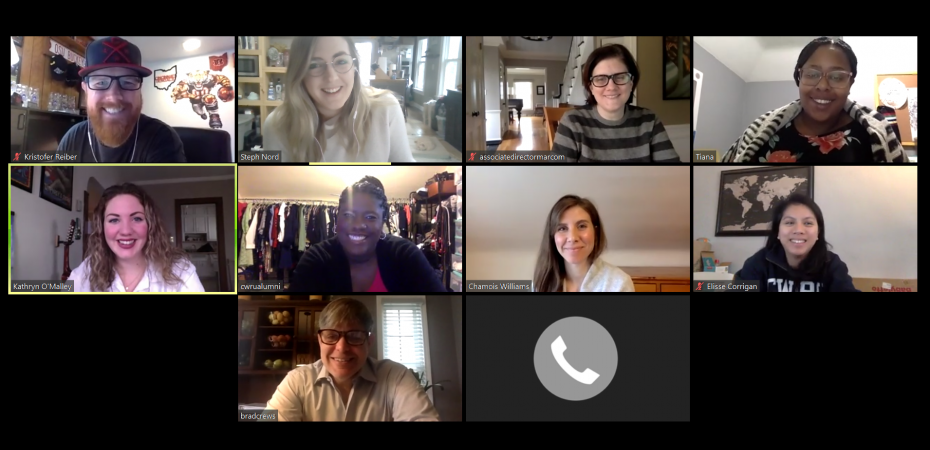 Screenshot of a group of people in a virtual Zoom conference call