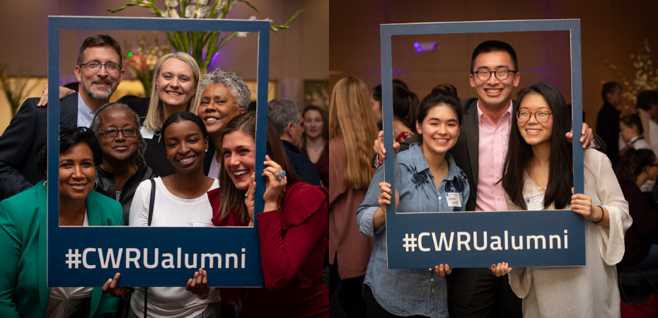 "Two groups of people at a party holding a cardboard frame that says ""#CWRUalumni"""