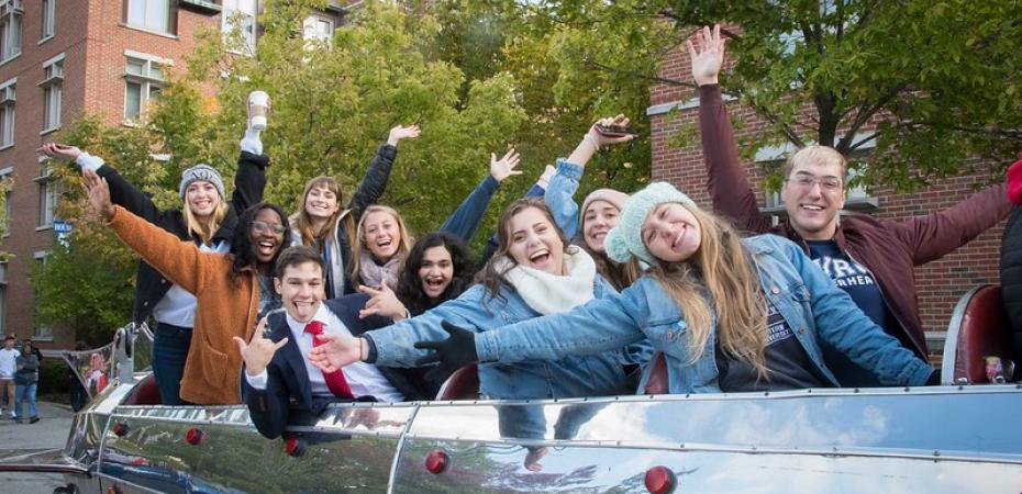 Group of students in a car