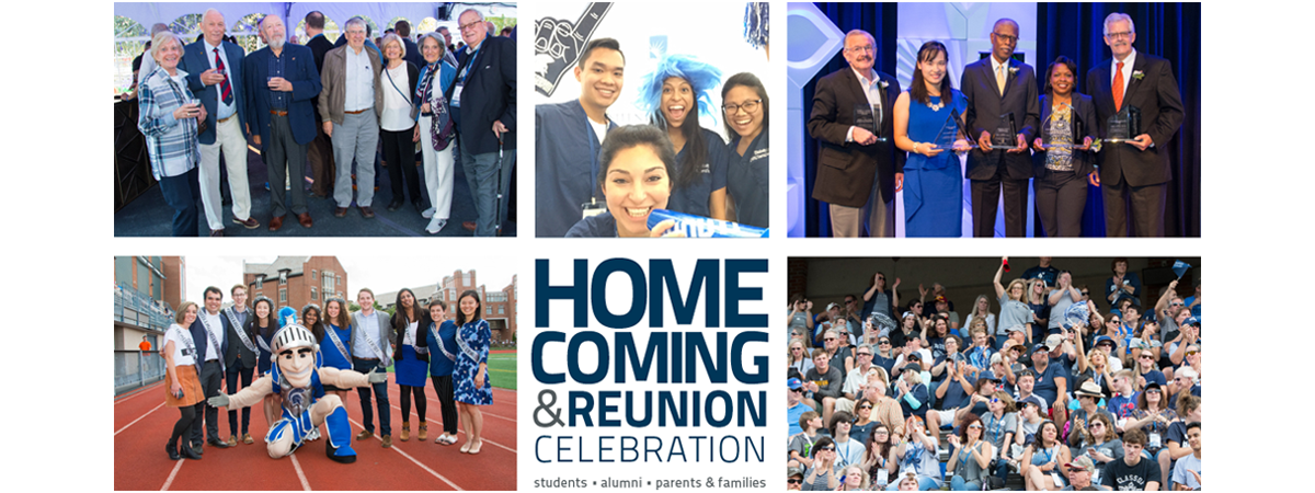 Photo grid of Homecoming events and identifier with different groups of people smiling and enjoying Homecoming weekend