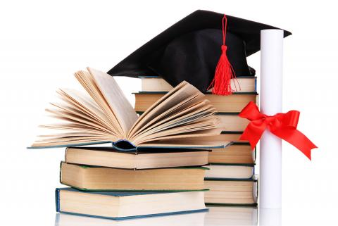 image of books, graduation cap and diploma