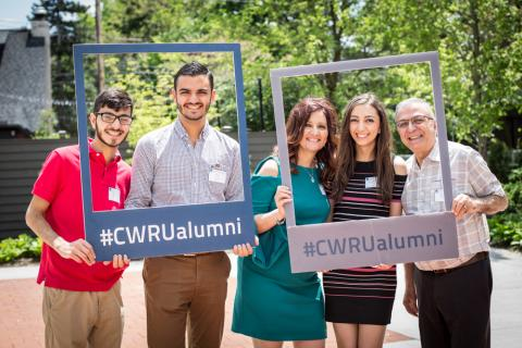 A family of CWRU graduates celebrate the May 2018 graduation