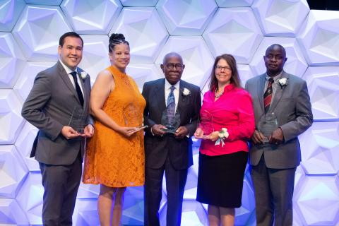 Alumni Award Recipients (l to r): JP Graulty (CWR '10), Sara Fields, Robert P. Madison (ARC '48, HON '04), Nikki DiFilippo (MGT '94), Moses Joloba (GRS '96; GRS '03, pathology)