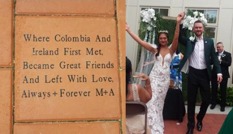 "A photo of an inscribed paver in the courtyard of the Linsalata Alumni Center that reads ""Where Columbia and Ireland first met, became great friends and left with love, Always + Forever M+A, along with a picture of alumni Allysen and Matt Shaughnessy on their wedding day."