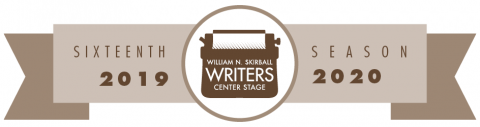 William N. Skirball Writers Center Stage Sixteenth Season 2019-2020 logo - white and brown banner with vintage typewriter image at the center
