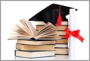 image of books, graduation cap and diplomab