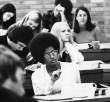 A group of students in class in the 1960s or 1970s