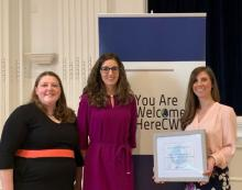 Elizabeth Miller and Tamara Covarrubiasof CWRU's Center for International Affairs Present an Award to Chamois Williams of The Alumni Association