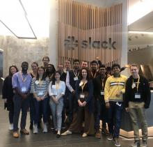 A group of undergraduate business and engineering students visit the headquarters of Slack Technologies during a recent visit to innovative companies in the Bay Area.