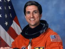 Astronaut Don Thomas (CIT '77) in his astronaut suit