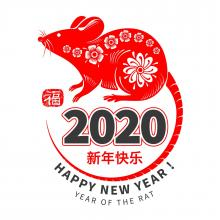 Happy New Year 2020 - the year of the rat - picture of a red rat