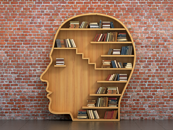 Image of a head shaped bookcase with books on it