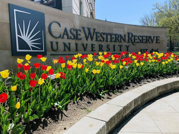 CWRU sign and tulips