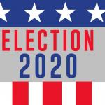 Red, white and blue border with Election 2020 through the middle